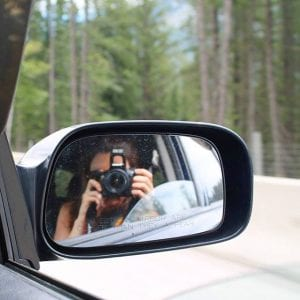 Taking photos on the road to Lake Louise